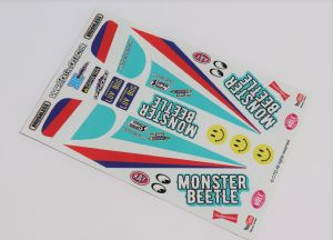 Light Blue Original Kit Style Retro themed vinyl stickers to fit R/C Tamiya Monster Beetle